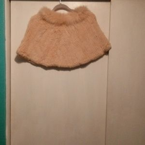 Pink real fur cape